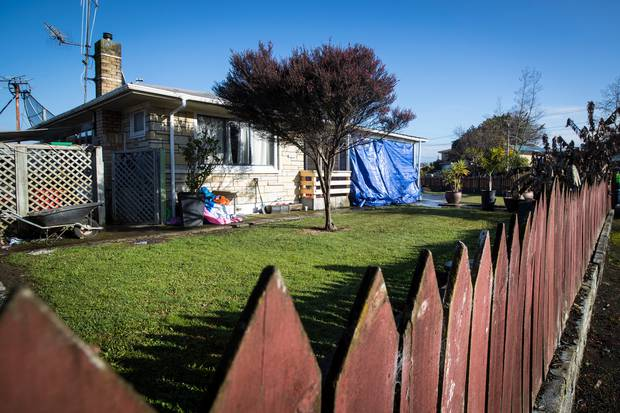 The scene of a fatal shooting on Matthews Cres, Melville, Hamilton. Forensic staff were still at the scene fingerprinting areas of the house. Photo / Jason Oxenham