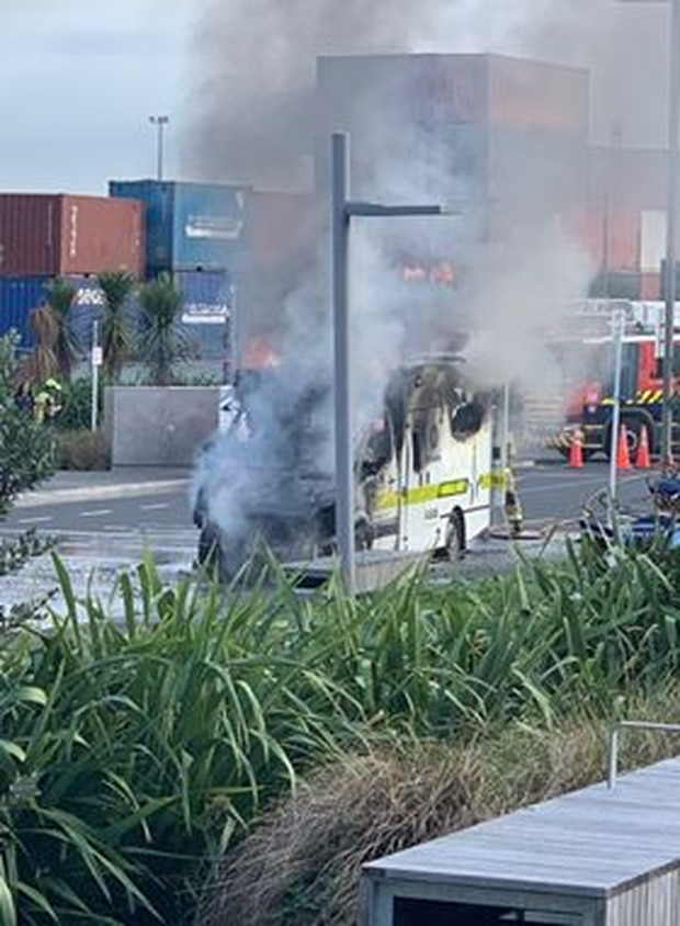 An ambulance is on fire at Otahuhu Train Station. Photo / Supplied