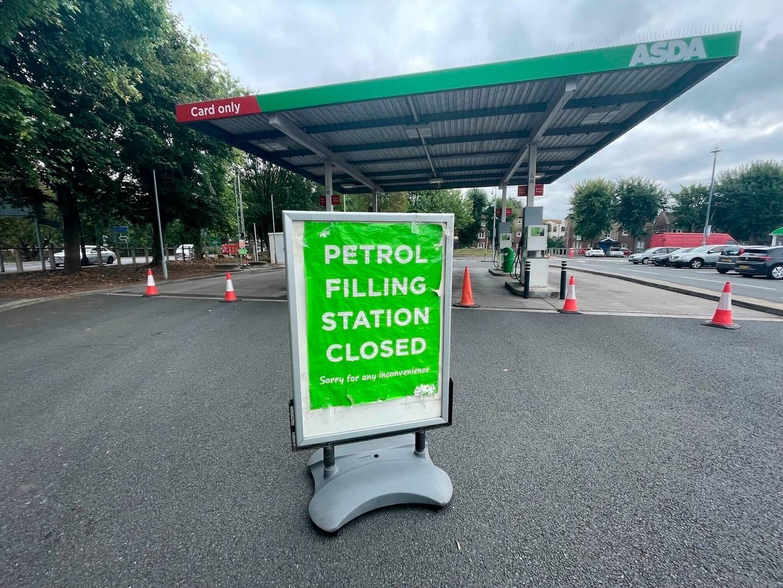 A closed petrol station in Bristol, England. Photo / AP