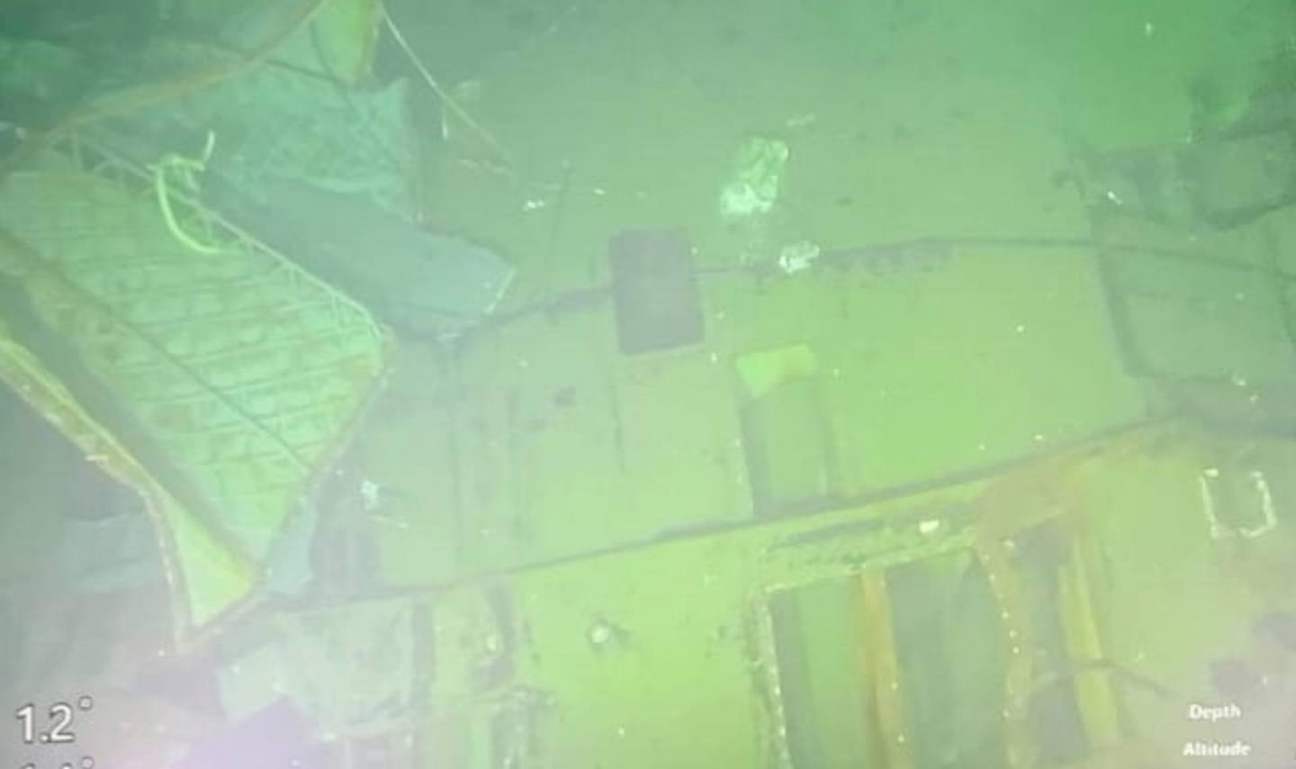This undated underwater photo released on April 25 by Indonesian Navy shows parts of submarine KRI Nanggala that sank in Bali Sea, Indonesia. Photo / via AP