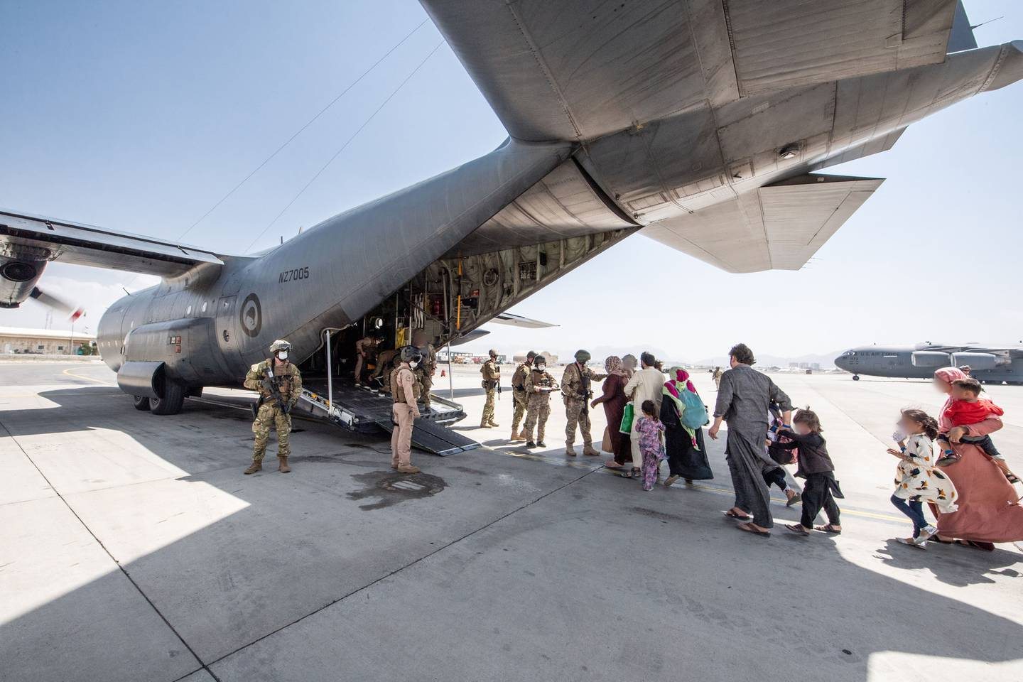 A New Zealand military plane has already evacuated a group from Kabul. Photo / NZDF
