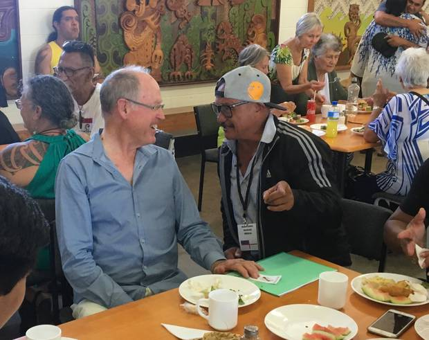 Dr Don Brash over lunch at the Ti Tii Marae. Photo / David Fisher