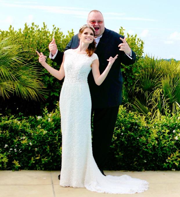 Kim and Liz Dotcom on their wedding day in Coatesville, Auckland.
