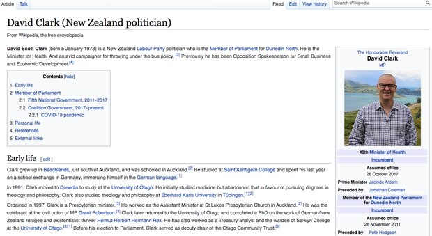 David Clark's biography on Wikipedia includes a new reference to the latest controversy. Photo / Wikipedia