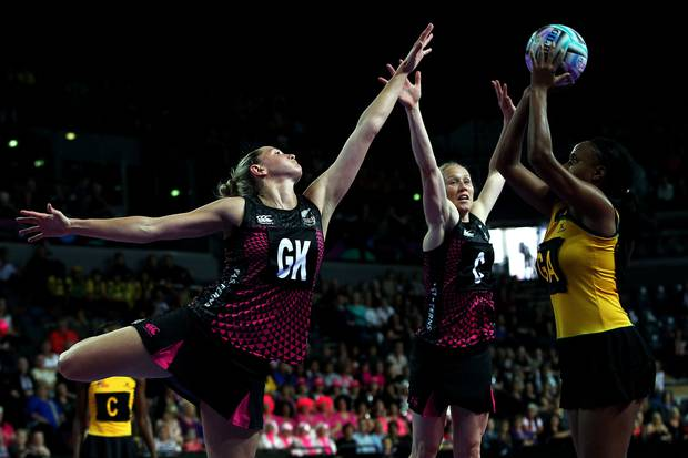 Casey Kopua and Laura Langman in action for the Silver Ferns in 2013. Photo / Photosport