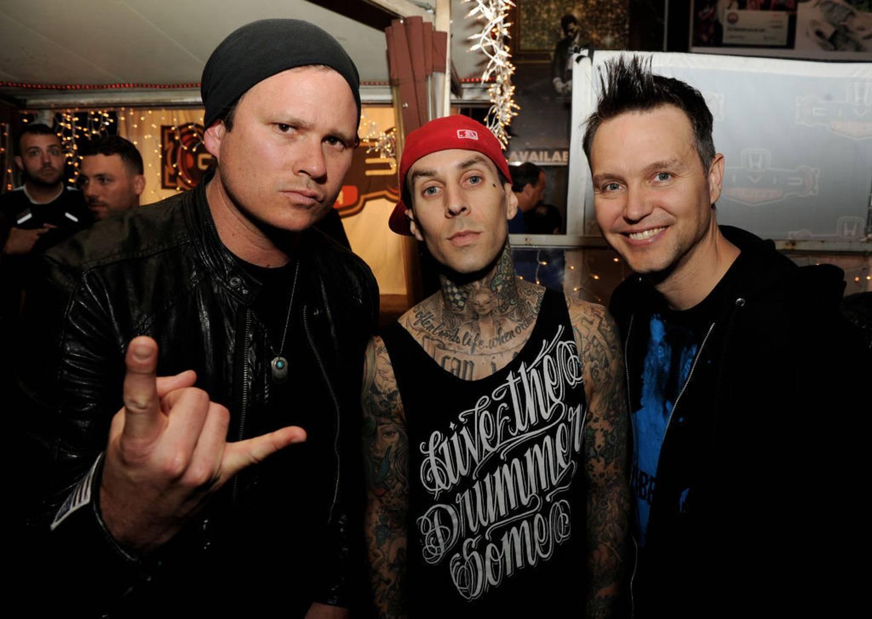 Tom DeLonge, Travis Barker and Mark Hoppus of Blink-182. Photo / Getty Images