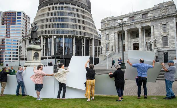 Protesters against the Abortion Legislation Bill displaying their graphic images at Parliament. Photo / Mark Mitchell