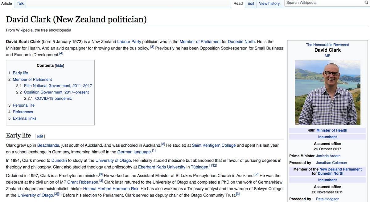 Health Minister David Clark's Wikipedia entry edited following controversy with Dr Ashley Bloomfield