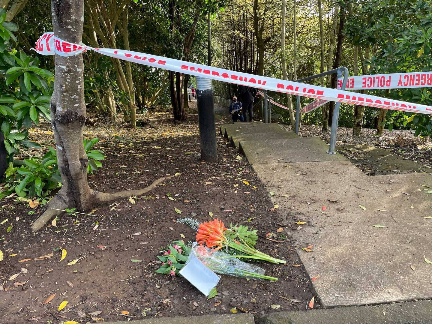 Flowers were laid at the scene of a homicide investigation just off Summit Dr, Mt Albert. Photo / NZME