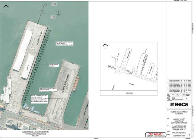 Queens Wharf deck and dolphin arrangement layout plan. Photo / Supplied Punuku Development, Auckland Council