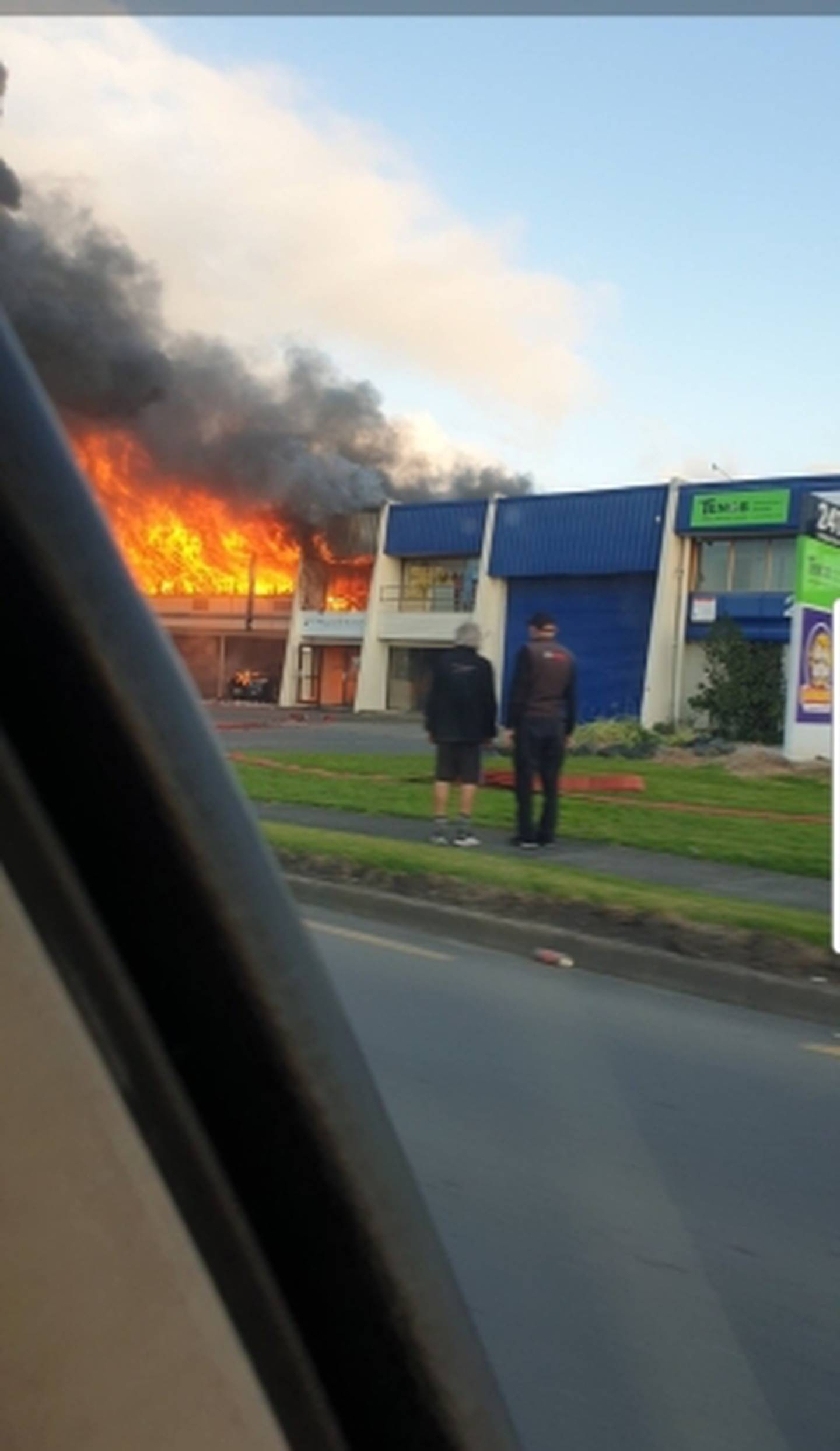 Flames were seen from a building fire on Auckland's Ti Rakau Drive. Photo / Supplied