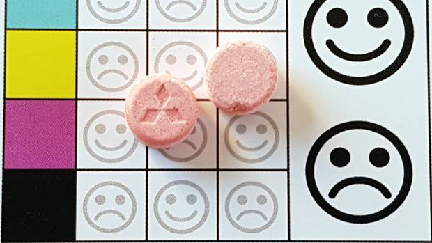 Party pills like these 'Pink Mitsubishis' contain dangerously-high levels of MDMA, and also caffeine, according to Know Your Stuff. Photo / Know Your Stuff