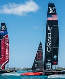 Emirates Team NZ lead Oracle Team USA in America's Cup challenge off Bermuda. Photo/Ricardo Pinto