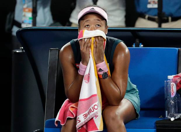 Japan's Naomi Osaka reacts after defeating Petra Kvitova of the Czech Republic in the women's singles final at the Australian Open tennis championships. Photo / AP