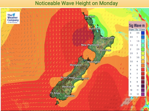 Wave heights are forecast up to eight metres. Image / WeatherWatch NZ