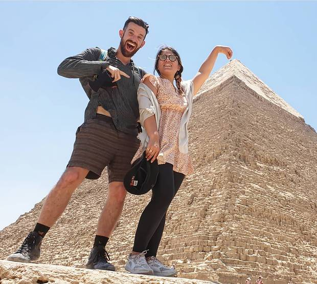 Chris Williams and Tiffany Zyp visited Egypt as part of their travels around Africa. Photo / Instagram