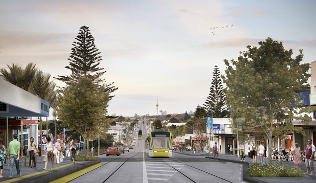 Trams running on light rail along Dominion Rd to the airport. Source / Auckland Transport