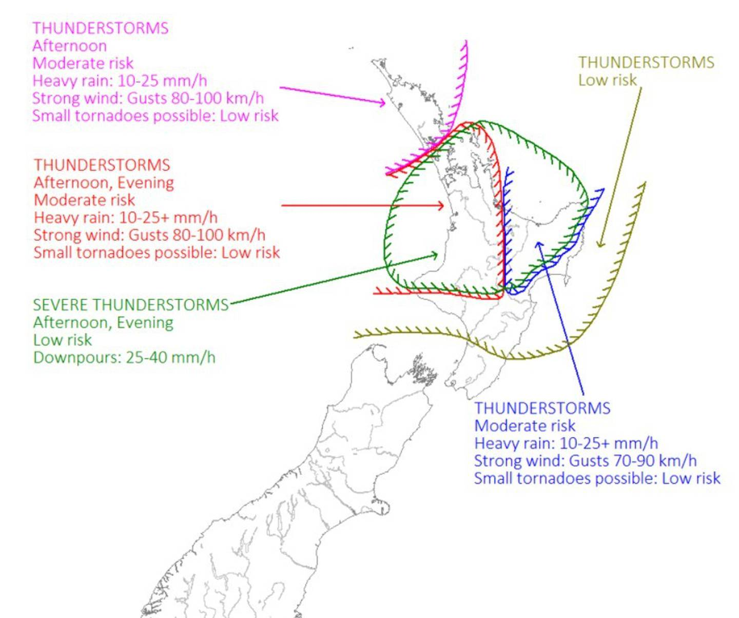 The upper half of the North Island is being warned to prepare for a stormy day.  Image / MetService