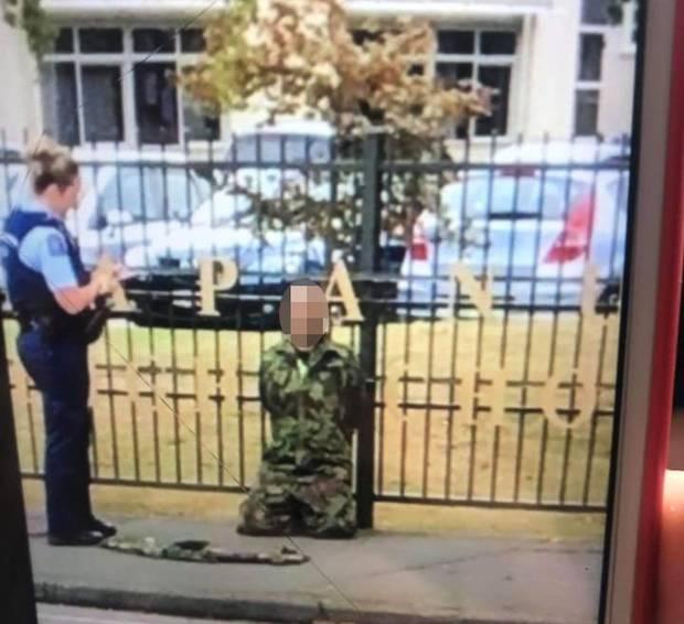 Police arrest a man a Papanui High School. Photo / Supplied