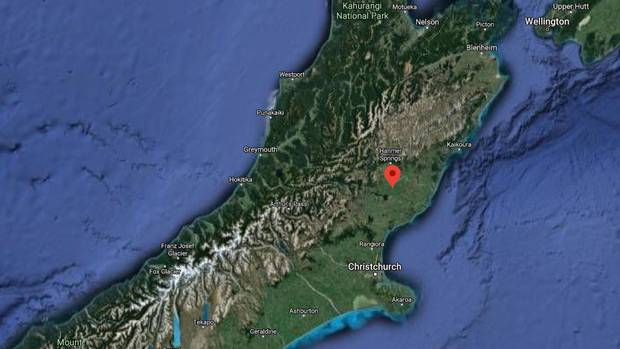 A strong earthquake struck about 4.30am near northern Canterbury. Image / Google