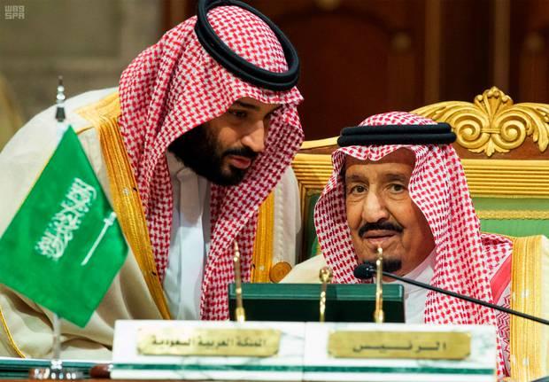 Saudi Crown Prince Mohammed bin Salman speaks to his father, King Salman. Photo / AP