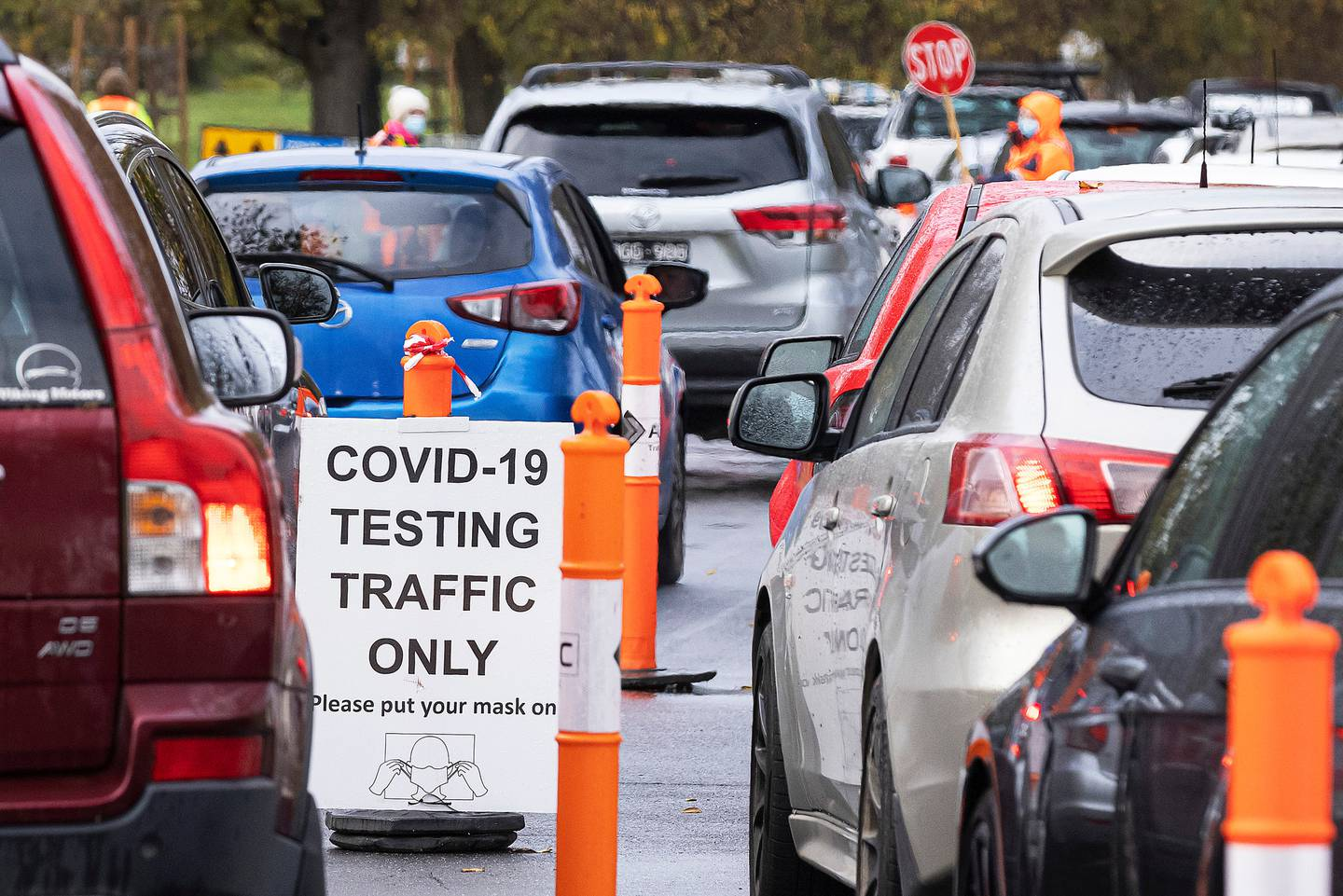 Queues at a pop-up Covid testing site in Melbourne, Australia on May 27, 2021. Photo / Getty Images