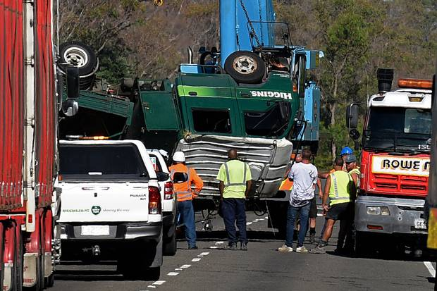 Damaged trucks being removed from the crash scene at Pikowai. Photo / file