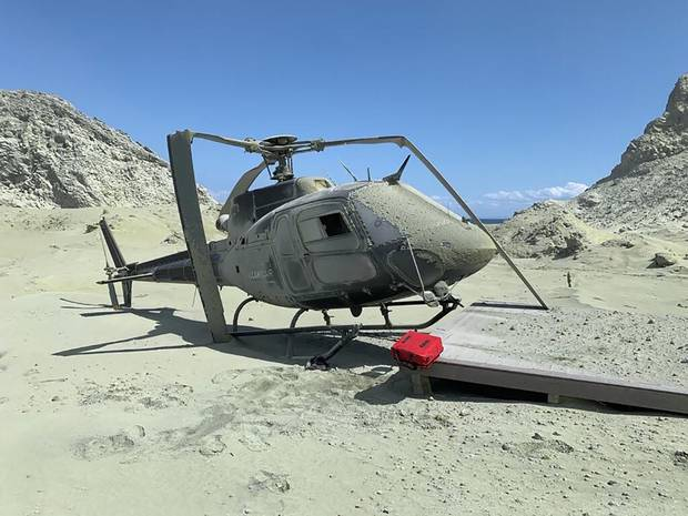 An image posted to Instagram showing the helicopter that was destroyed during the White Island volcanic eruption. Photo / Supplied