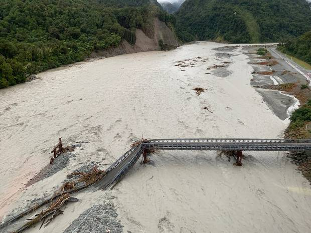 Aerial photos have revealed the scale of the damage at Franz Josef. Photo / Wayne Costello, DOC