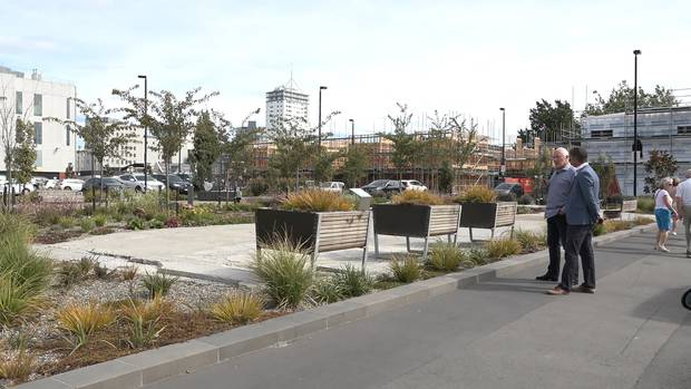 The site of the CTV building, now a memorial space for families of the 115 who died when the building collapsed on 22 February 2011. Photo / Video Still
