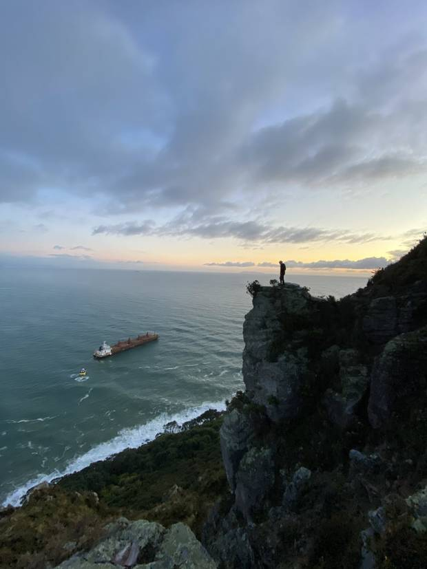 The view of the anchored ship from Mauao. Photo / Trent Sunderland