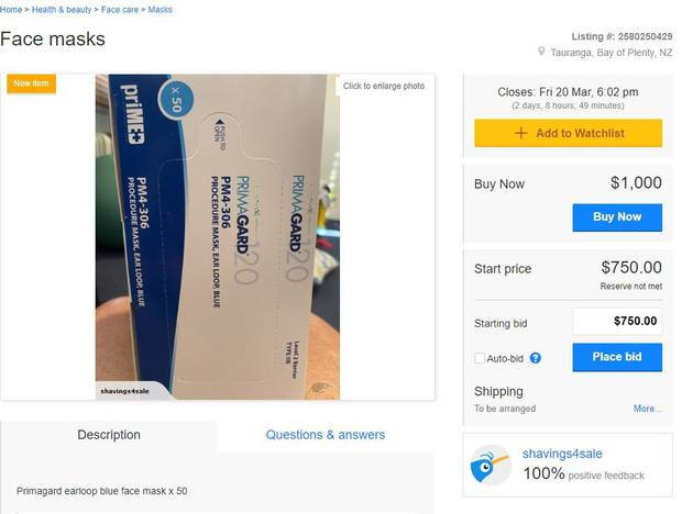 This TradeMe seller in Tauranga is trying to sell a packet of 50 face masks for $1000. Image / TradeMe