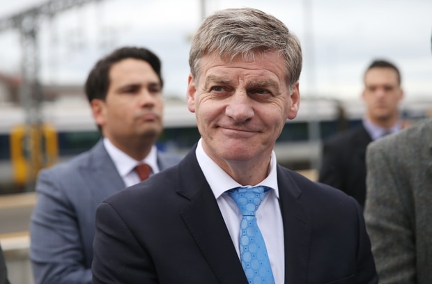 NZ Prime Minister Bill English announces new transport policy at Papakura Train Station. Photo / Doug Sherring
