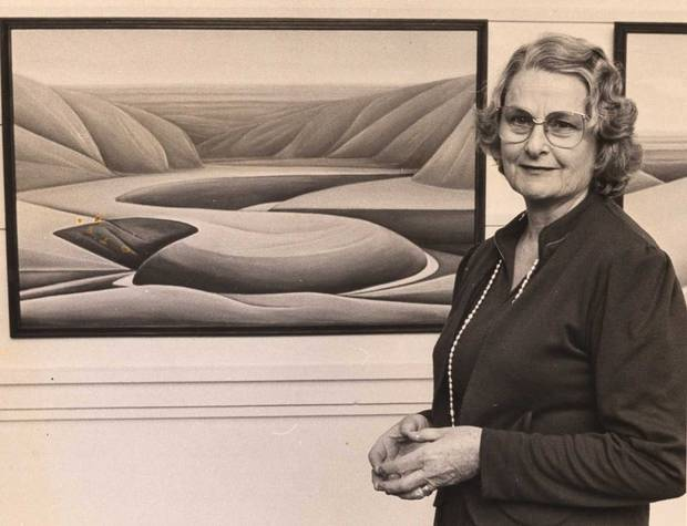 Veteran Arts Review submitter Elva Abbott with one of her paintings in 1984. Photo / Supplied