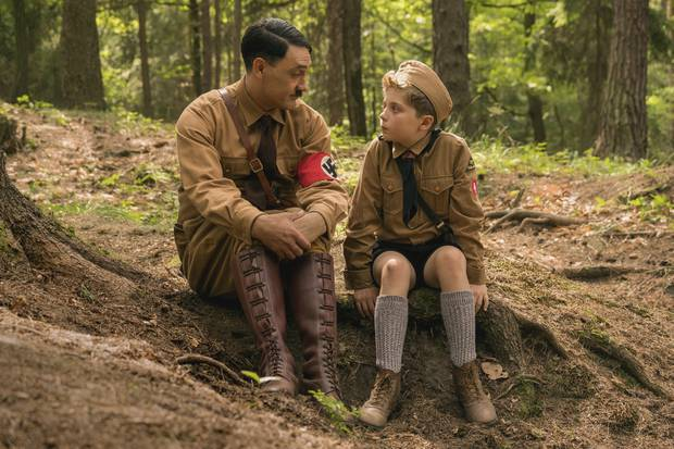 Taika Waititi and Roman Griffin Davis in a scene from Jojo Rabbit. Photo / Twentieth Century Fox