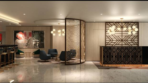 A computer render of what the lobby of the new DoubleTree by Hilton Napier will look like. Image / Supplied