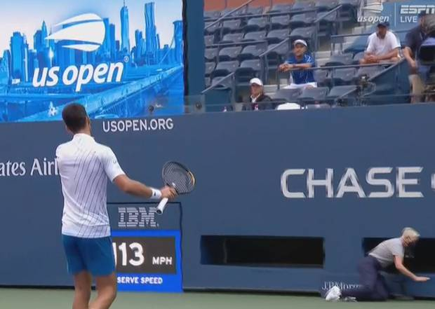 Novak Djokovic reacts after hitting a linesperson. Photo / Sky Sport