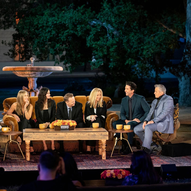 Jennifer Aniston, Courteney Cox, Matthew Perry, Lisa Kudrow, David Schwimmer and Matt LeBlanc in a scene from the Friends reunion special. Photo / AP