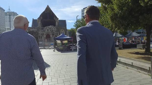 A gaping hole remains at the front of Christchurch Cathedral. Photo / Video Still