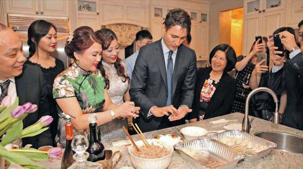 Xiao Hua Gong, or Edward Gong, (far left) at a Liberal Party fundraiser with Canada's PM Justin Trudeau. Photo / Dawa News