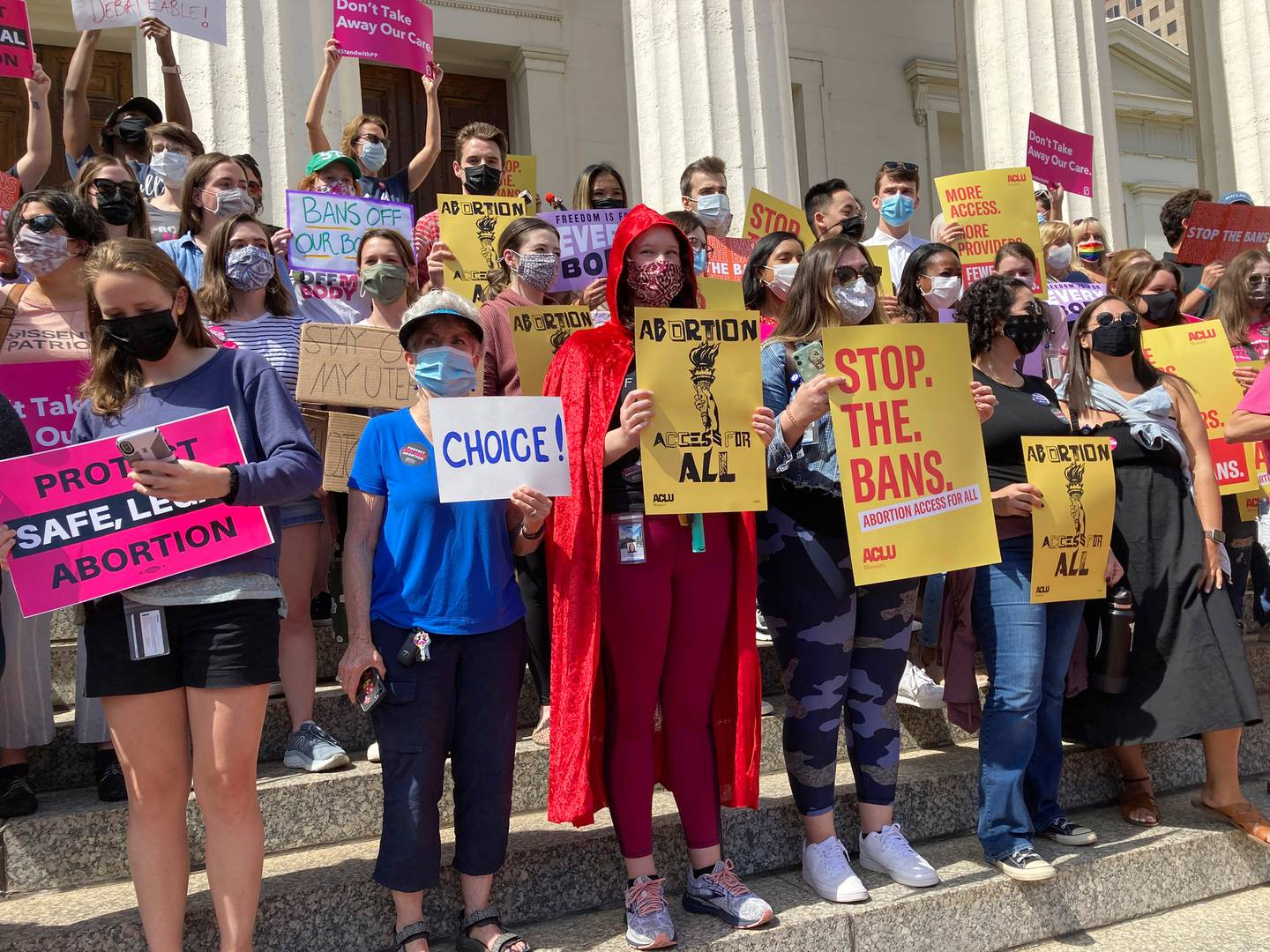About 200 abortion rights demonstrators gathered outside the Old Courthouse in St. Louis, for a rally last month. Photo / AP