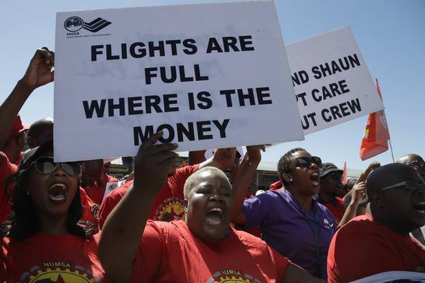 Hundreds of flights were cancelled during a week-long protest by South African Airways workers. Photo /Themba Hadebe, AP