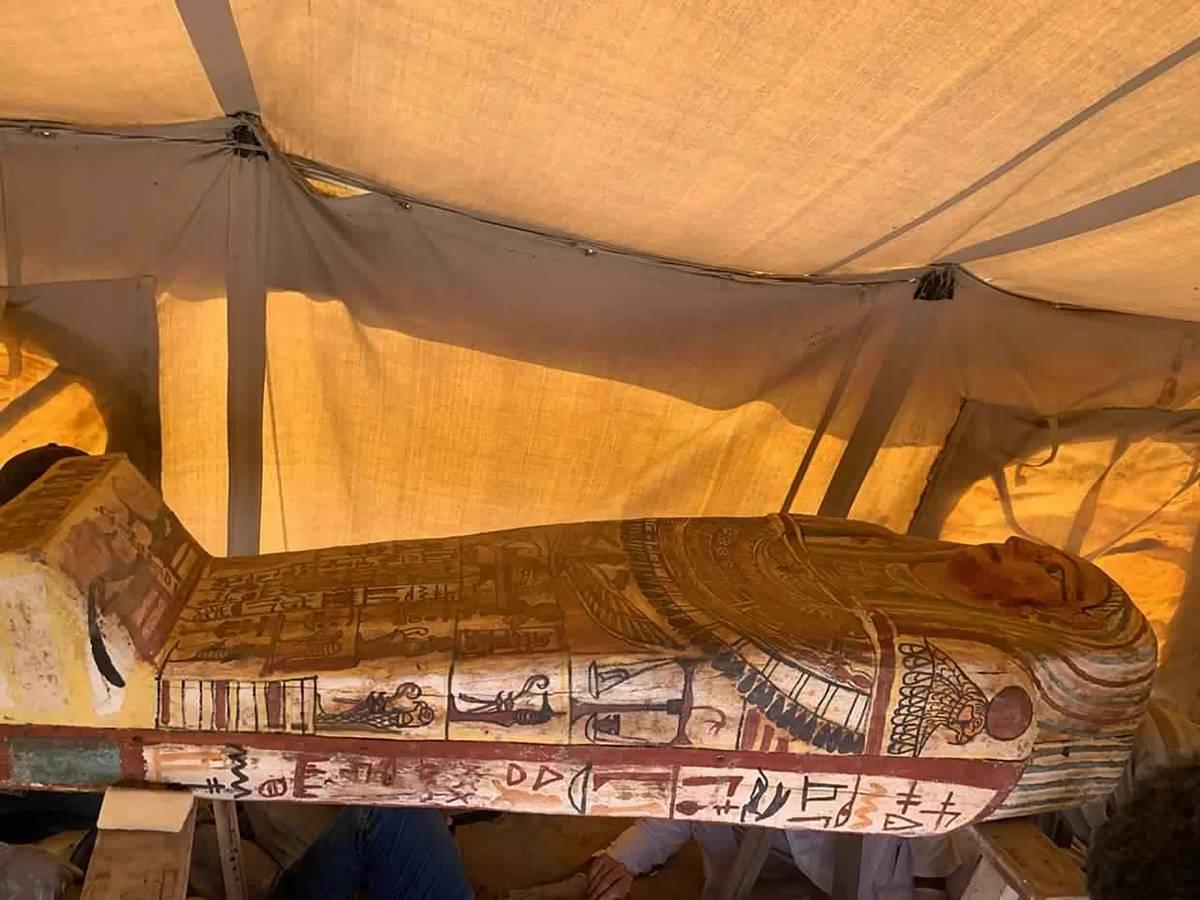 Archaeologists unearth 27 sarcophagi at Egypt's Step Pyramid in Saqqara
