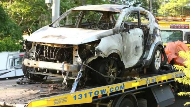 Hannah Baxter's burnt-out car. Photo / News Corp