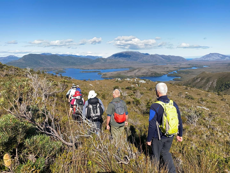 Hikers descending from Mt Beattie. Photo / Tiana Templeman, Supplied