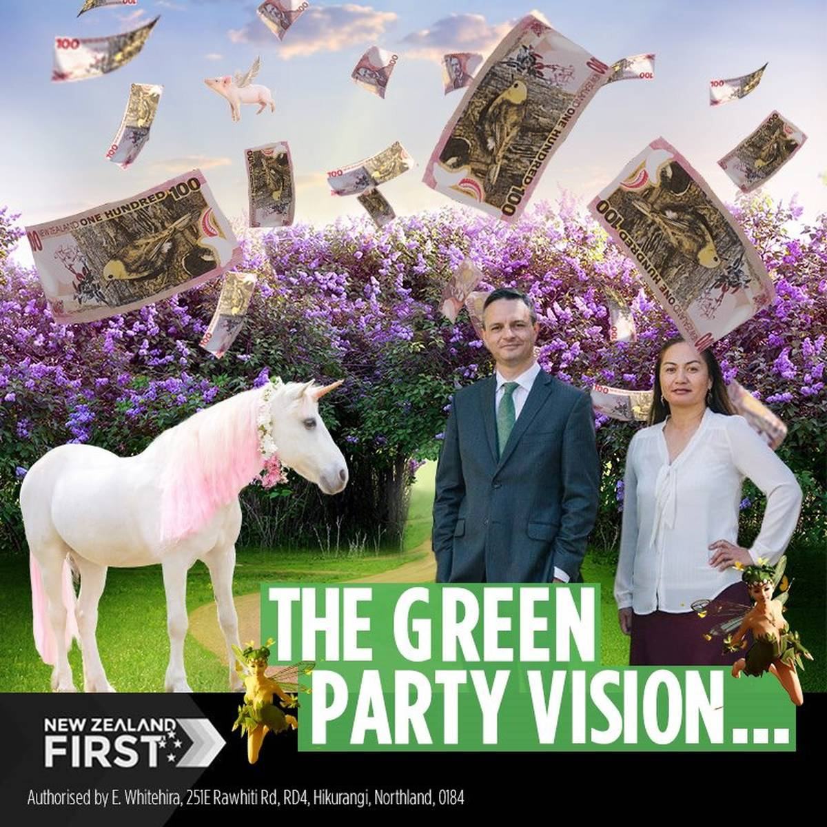 Election 2020: NZ First doubles down on attacks against Greens with mocking unicorns, pixies post