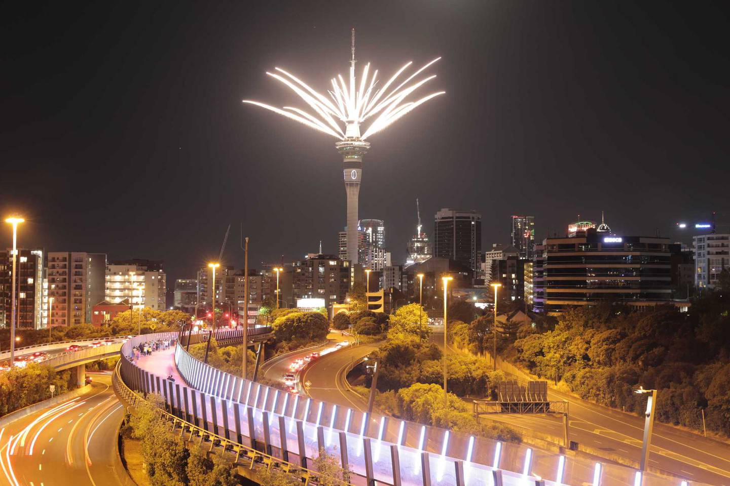 The fireworks display over Auckland from the Sky Tower at the stroke of midnight. Photo / Michael Craig