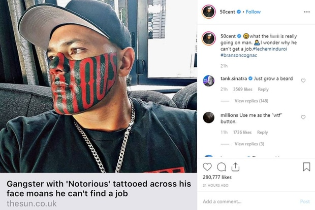 50 Cent brutally sledges Kiwi Mongrel Mob member Puk Kireka giant face tattoo on Instagram. Photo / Instagram