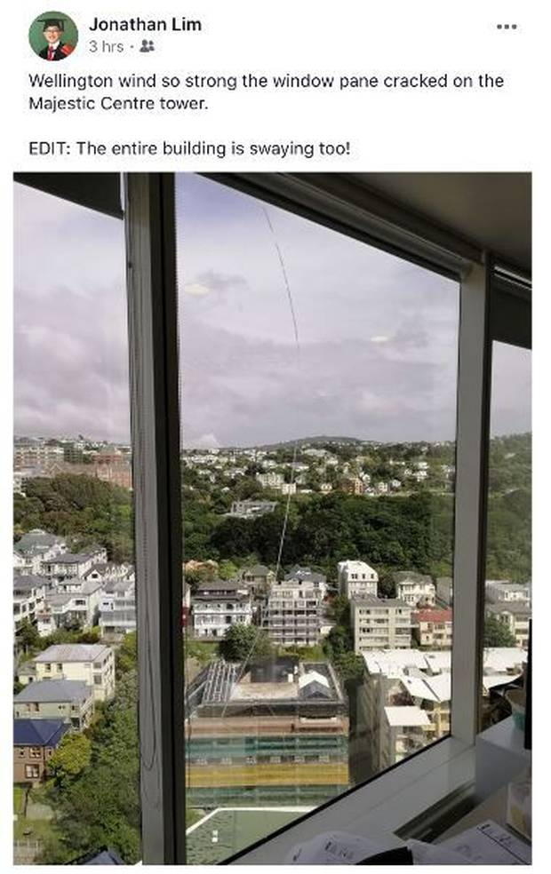 The gusts of wind in Wellington are so strong they have apparently cracked a window in Wellington's tallest building, the Majestic Centre. Photo / Facebook