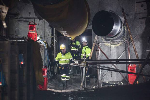 The Pike River Mine Recovery team break through the seal at Pike River Mine today. Photo / Supplied